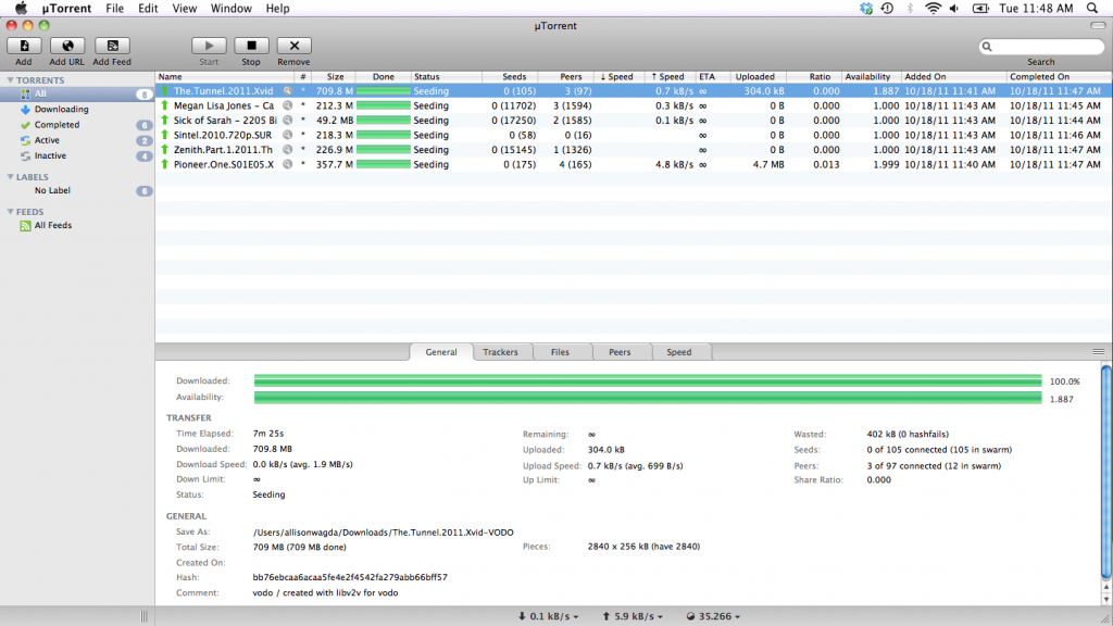 uTorrent for Mac OS X screenshot