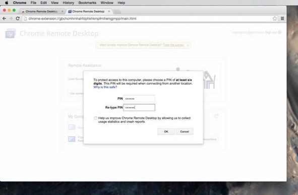 Chrome remote desktop settings on mac
