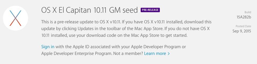 Install OS X El Capitan Final Beta