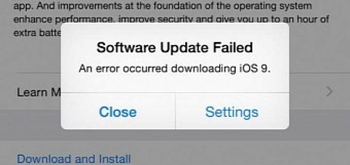 Ios 9 download issues software update failed error occurred downloading ios 9