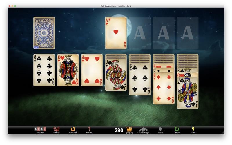 Full deck solitaire gameplay screenshot