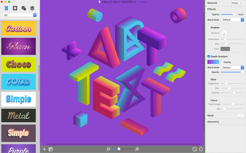 Art text 4 depth gradient