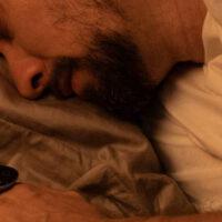 Guy sleeping with o2ring